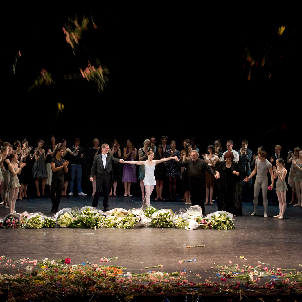 Flowers and flower shower at the end of Dame Darcey Bussell's retirement performance from the Royal Ballet in July 2007